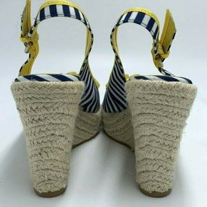Boden Shoes - Boden Navy Stripe Yellow Bead Espadrille Heels